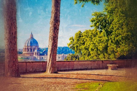 View of St Peter's Basilica from Janiculum Hill
